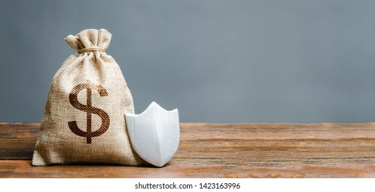 Bag with dollar symbol and protection shield. Concept of safety of money, guaranteed deposits. Client rights protection. Compensation for losses in inflation, safeguarded investment capital.