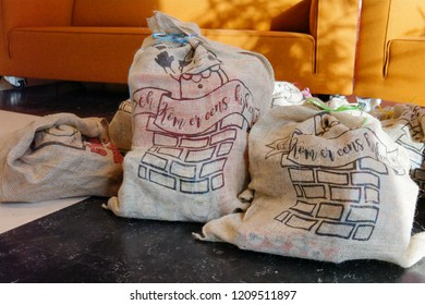 """The bag of the Dutch Santaclaus, called """"De zak van Sinterklaas"""" in Dutch, is filled with presents and sweets for children, part of the traditional holiday """"Sinterklaas"""" in december"""