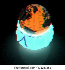 Bag and earth. On a black background. 3D illustration. Anaglyph. View with red/cyan glasses to see in 3D.