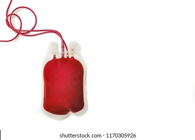 A bag  filled with fresh whole blood on white background, medical, medicine. Blood bank, transfusion, donation, treatment, replacement, surgery, concept. Top view, copy space.