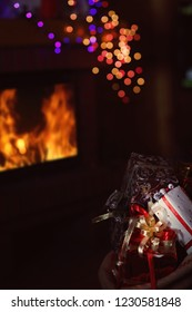 bag of gifts in a warm hut on Christmas