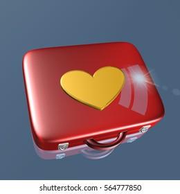 bag with heart, 3D illustration