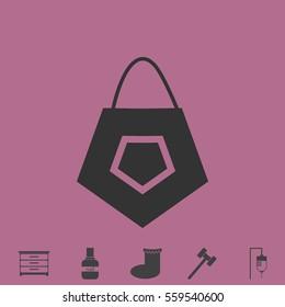 Bag icon flat. Simple grey pictogram and bonus symbol