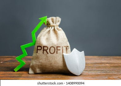 Bag with the inscription Profit, green up arrow and silver shield. concept of growth and protection of investments and income, guarantee of deposits. Reducing risks, favorable conditions for business.