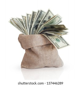 Bag with money isolated on a white background