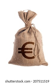 Bag of money on which is painted the euro sign.