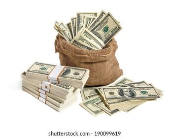 Bag of money / studio photography of bag with hundred dollar bills