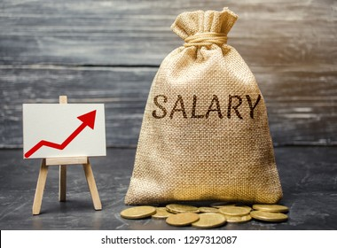 Bag with money and word Salary and up arrow and coins. Increase of salary, wage rates. Promotion. Career growth. Raising the standard of living. Increase profits and family budget.