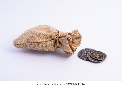 A bag with old coins