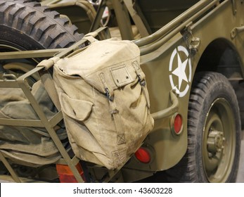 Bag on the military car of US army