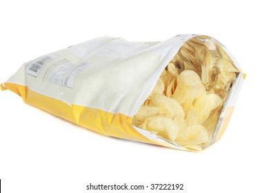 bag of potato chips isolated on white background