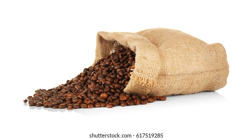 Bag with roasted coffee beans on white background