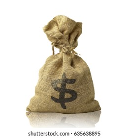 Bag Sackcloth isolated on white background. This has clipping path.