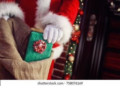 Bag of Santa Claus with Christmas gifts for children