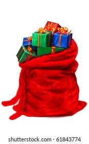 Bag of Santa Claus with gifts. Isolated on white.