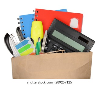 Bag with school and office supplies isolated on white background