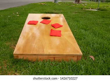 Bag Toss Game Ready for Use in a Park in Southern California