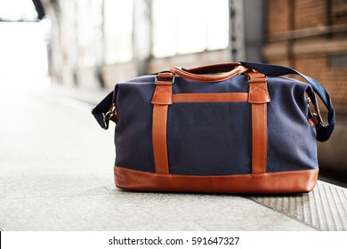 bag waiting to start travleing in a train station
