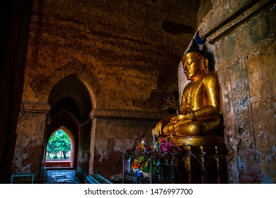 Bagan, Mandalay region, Myanmar - January 9, 2019 - Image of Buddha in Dhammayangyi Temple, the largest and widest Buddhist temple in Bagan