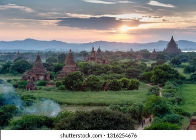 Bagan. Myanmar. 12/10/2016. Temples in the plain of Bagan