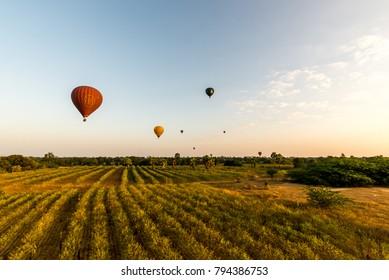 Bagan, Myanmar - 19/12/2017: Balloons over Bagan