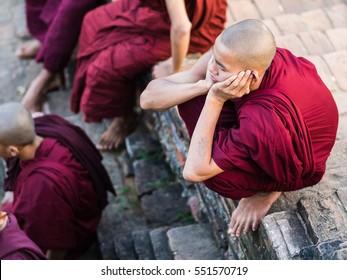 Bagan, Myanmar - Circa November 2016 - Young monks in Myanmar