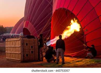 Bagan, Myanmar - December 27: proper training to fly a balloon December 27, 2016 in Bagan. Ballooning over Bagan is one of the most memorable action for tourists