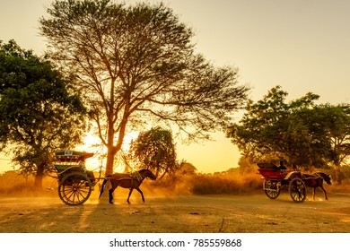 BAGAN, MYANMAR - FEB 18, 2017: General view of sunset in Bagan, Mandalay, Myanmar.