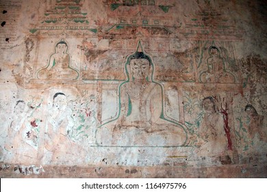 BAGAN, MYANMAR - FEB 25, 2015 - Ancient fresco painting in Htilominlo Temple, Bagan,  Myanmar (Burma)