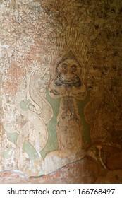 BAGAN, MYANMAR - FEB 25, 2015 - Ancient fresco painting in Htilominlo Temple, Bagan,  Myanmar (Burma)