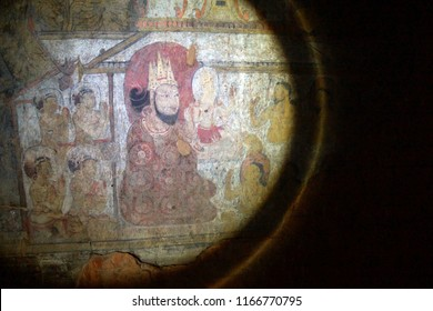 BAGAN, MYANMAR - FEB 25, 2015 - Ancient Buddhist painting in Dhammayangyi Temple, Bagan,  Myanmar (Burma)
