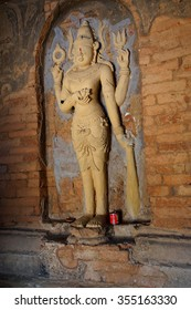 BAGAN, MYANMAR - FEB 25, 2015 -  Four armed Vishnu carving in Nathlaung Kyaung Temple, Bagan,  Myanmar (Burma)