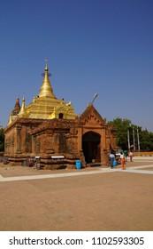 BAGAN, MYANMAR - FEB 26, 2015 -  Gold pagoda of Gubyauk nge  Bagan Myanmar (Burma)