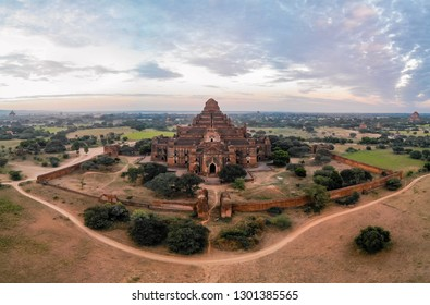 Bagan Myanmar, historical temples and pagodas of Pagan Myanmar old city. Aerial drone view of Bagan