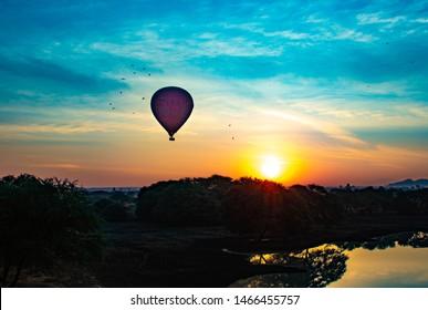 Bagan, Myanmar - Jan, 15, 2019: A beautiful view of balloons in the city.