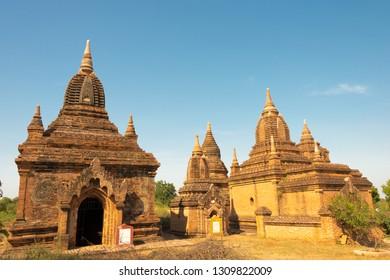 Bagan, Myanmar - Jan 23 2019- Bagan Archaeological Area and Monuments. a famous Buddhist ruins in Bagan, Mandalay Region, Myanmar.