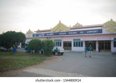 Bagan, Myanmar - January, 16, 2019: Bagan airport in the city.