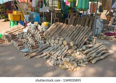 Bagan, Myanmar - January, 16, 2019:  A place selling tanaka wood.
