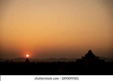BAGAN, MYANMAR - JANUARY 21, 2020: Sunset over the temples of Bagan, Myanmar.