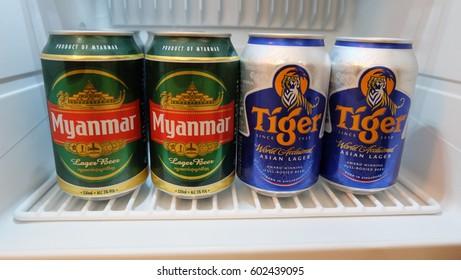 Bagan, Myanmar - MARCH 11, 2017 - Myanmar Beer Cans in refrigerator of hotel in Bagan city, Myanmar.