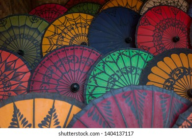 Bagan, Myanmar - March 3 2015: The traditional umbrella shown in the display.