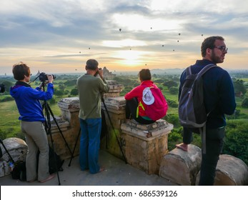 Bagan, Myanmar, November 18-2015 Shwesandaw temple in Bagan,Myanmar. The best view point in old Bagan for photographers and travelers.