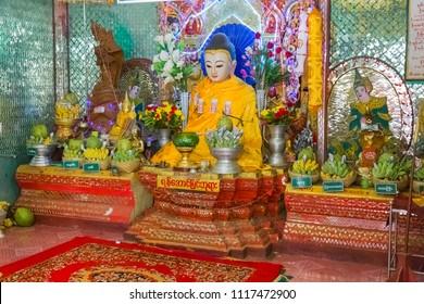 BAGAN, MYANMAR - NOVEMBER 28, 2014: Popa Taungkalat monastery at top of Mount Popa