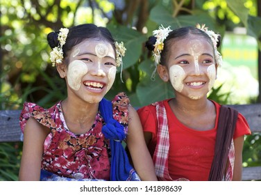 BAGAN, MYANMAR - OCT 15: Unidentified Burmese children wearing traditional Thanaka face cream in Bagan, Myanmar on October 15, 2011. Thanaka face cream has been used by Burmese for over 2000 years.