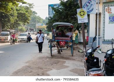 Bagan , Myanmar - October 21, 2016: Street infront of Mani Sithu Market in Nyaung-U village, Bagan, Myanmar (Burma)