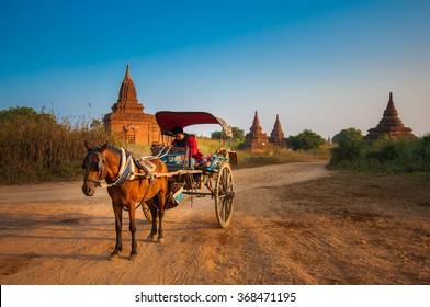 Bagan, Myanmar-DECEMBER 31, 2013: A horse cart is waiting for tourists in a famous destination of Myanmar.