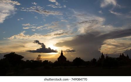 Bagan temple at dusk