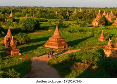 Bagan,Myanmar - February 01, 2014 : People are visiting The temples of bagan, Mandalay, Myanmar.