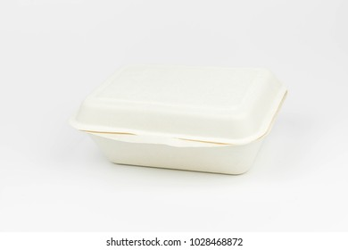 Bagasse Clamshell Food Box, Biodegradable Food Packaging Bagasse on White Background.