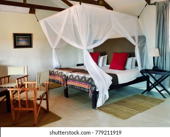 BAGATELLE, NAMIBIA - JAN 23, 2016: Accommodation unit interior at Bagatelle Kalahari Game Ranch. The lodge lies on the edge of the Southern Kalahari in the mixed tree and shrub Savanna.